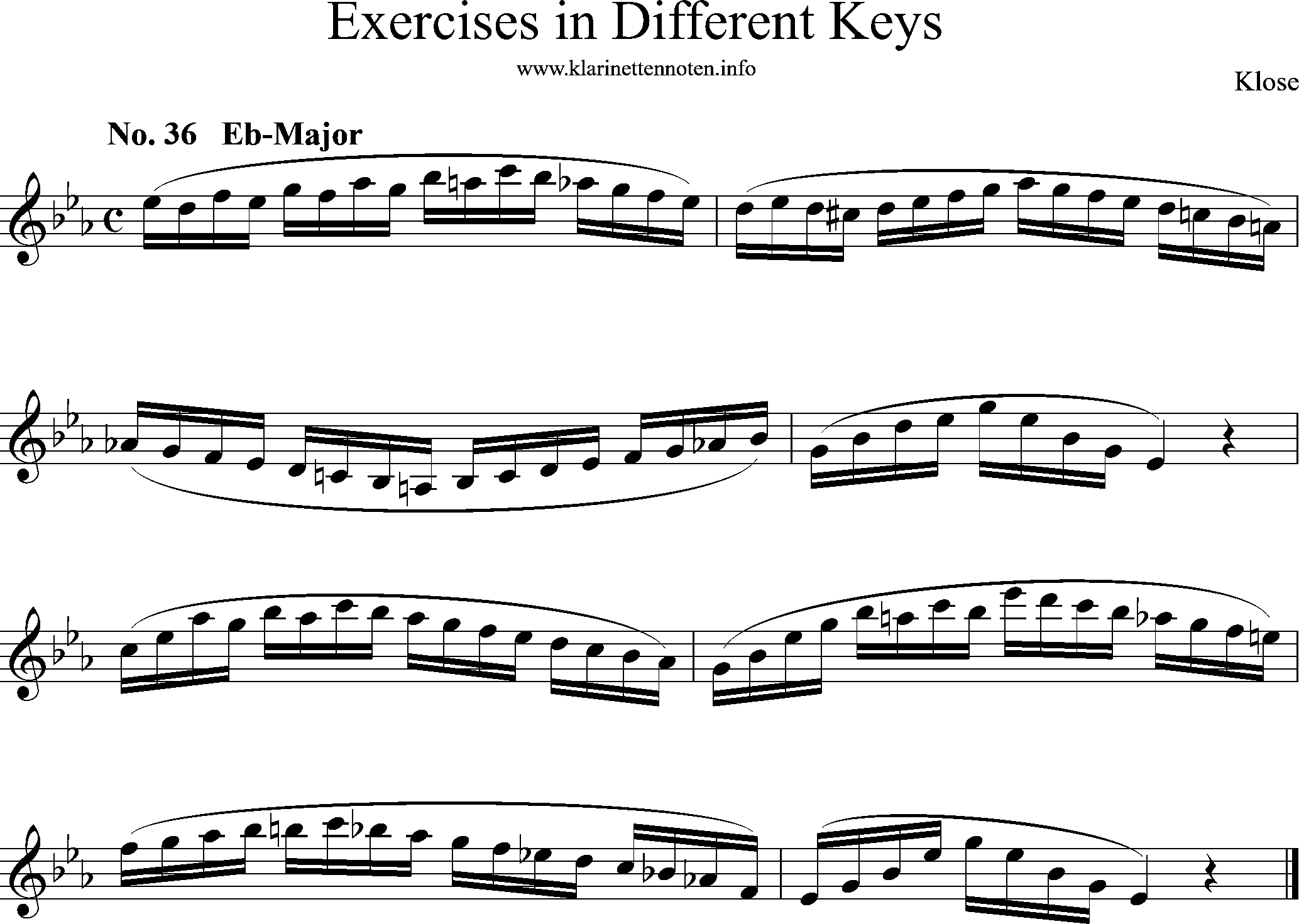 Exercises in Differewnt Keys, klose, No-36, Eb-Major