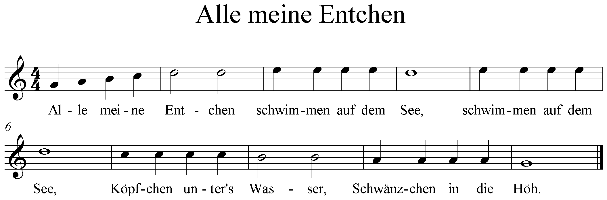 Alle meine Entchen G-Dur, G-Major, Noten
