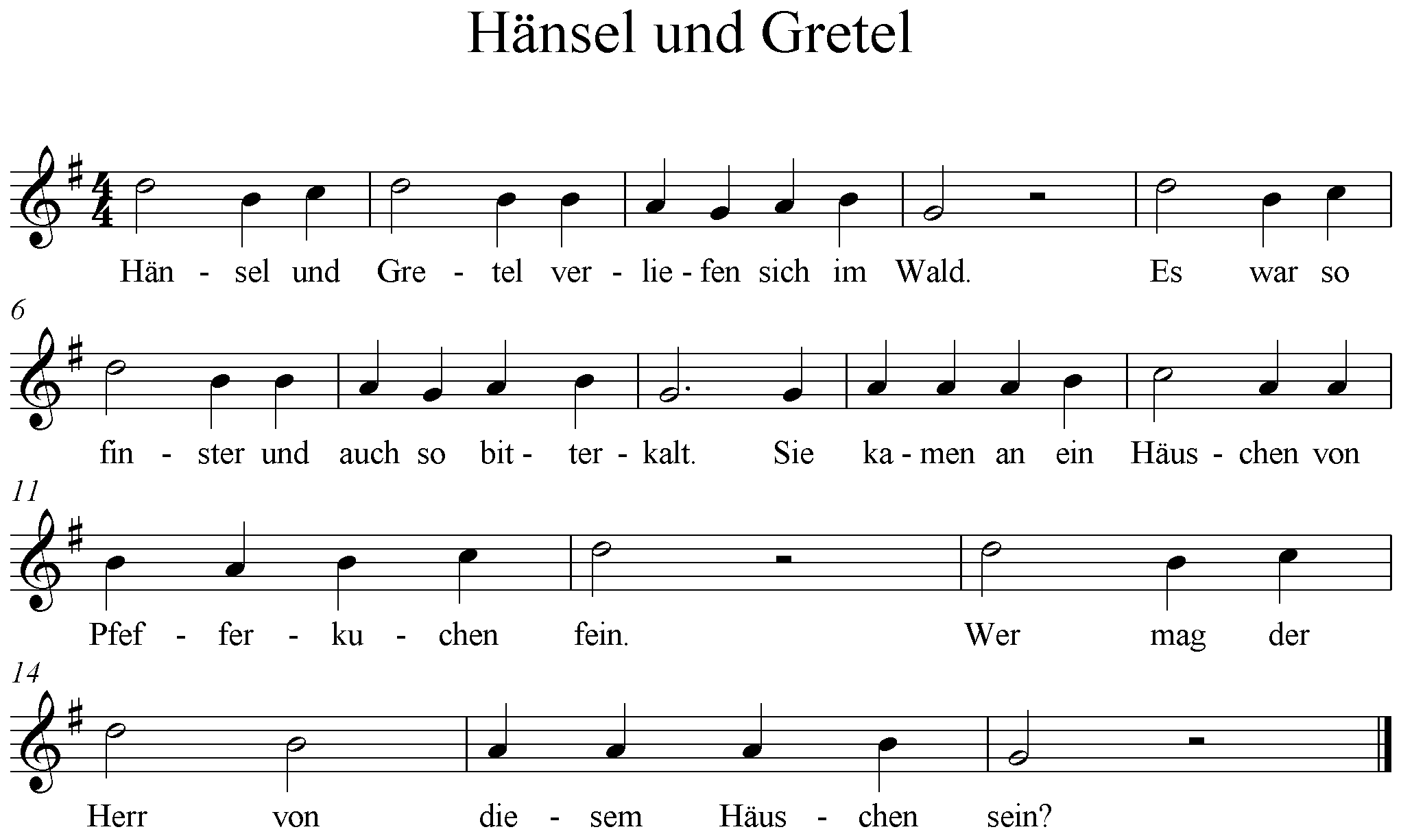 Hänsel und Gretel ,G-Dur, G-Major