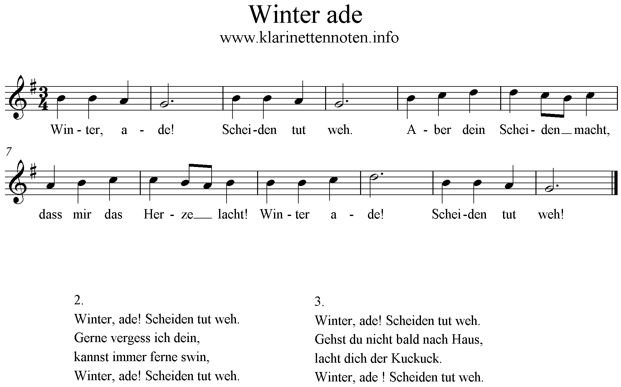 Noten Winter Ade, G-Dur, G-Major