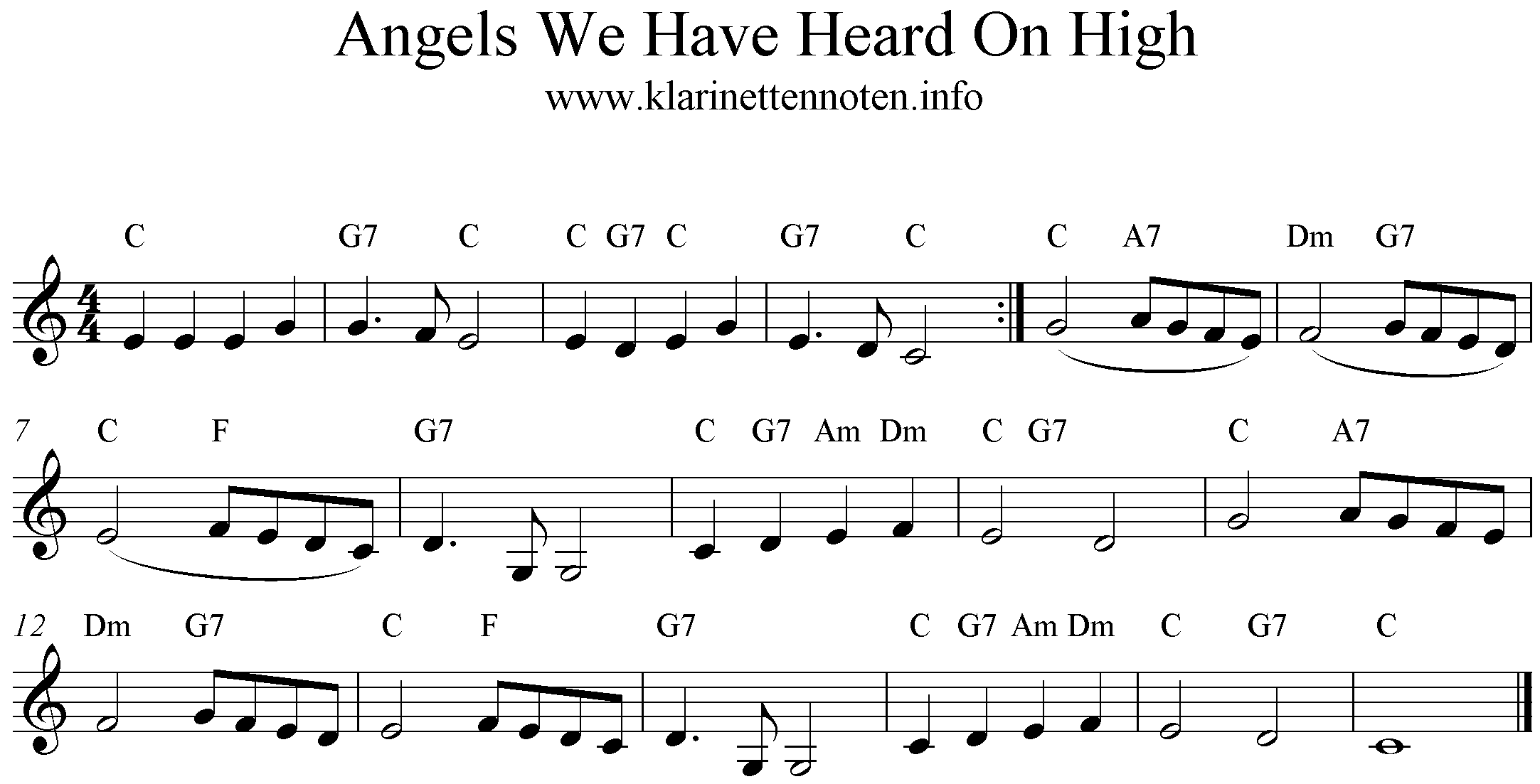 Freesheetmusic ,Trumpet, Clarinet, Angels We Have Heard On High