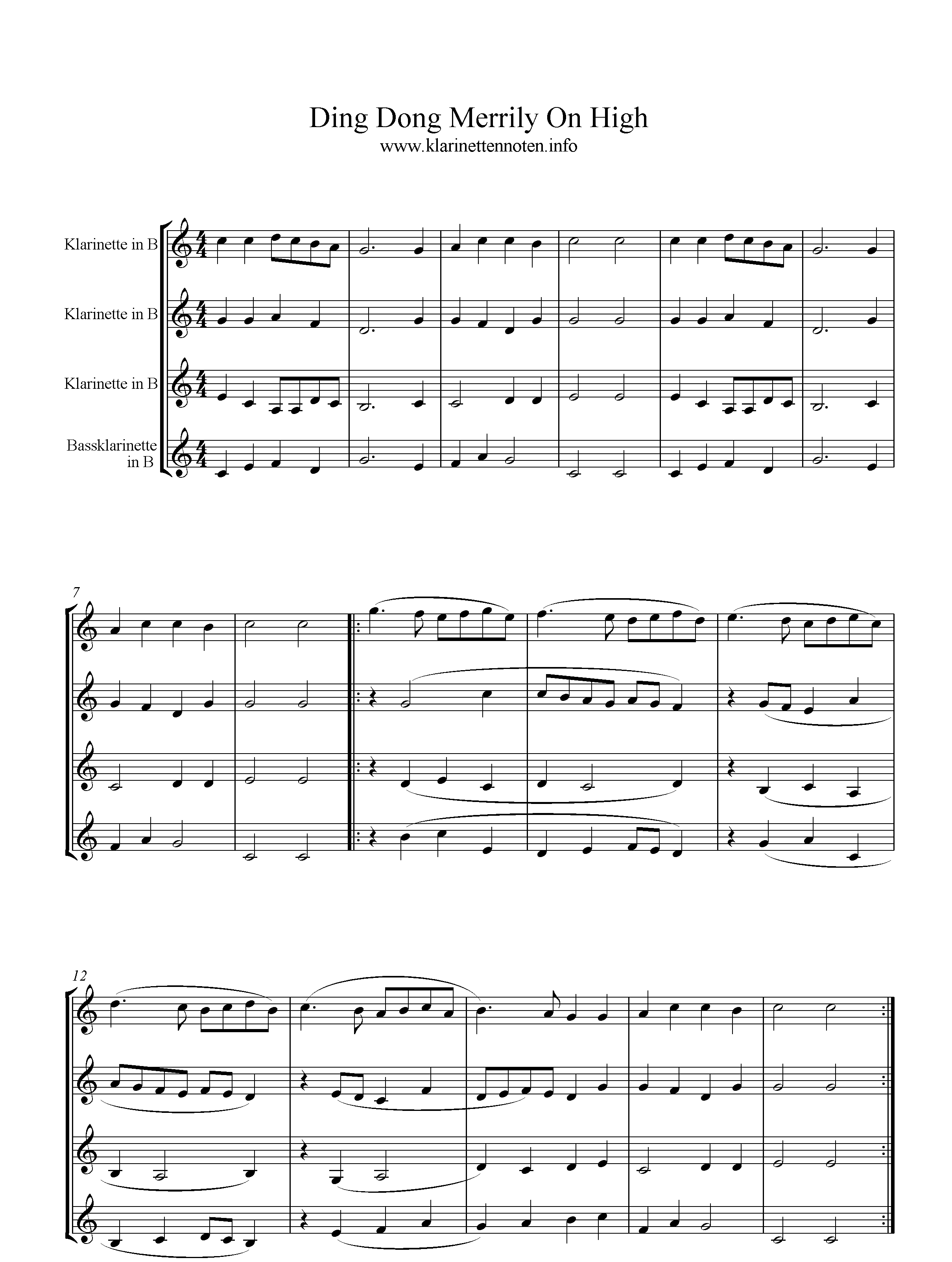 Ding Dong Merrily On High, Quartet, sheetmusic; Clarinet