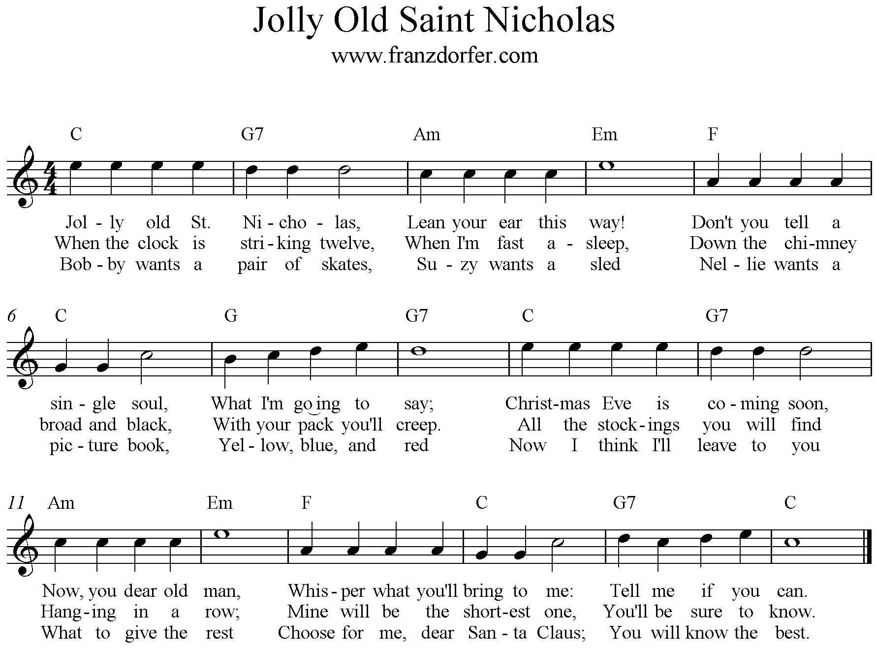 sheetmusic, Jolly Old Saint Nicholas, C-Major high