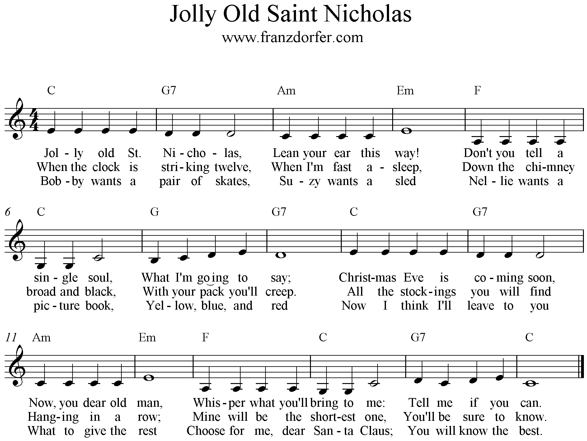 sheetmusic, Jolly Old Saint Nicholas, C-Major low