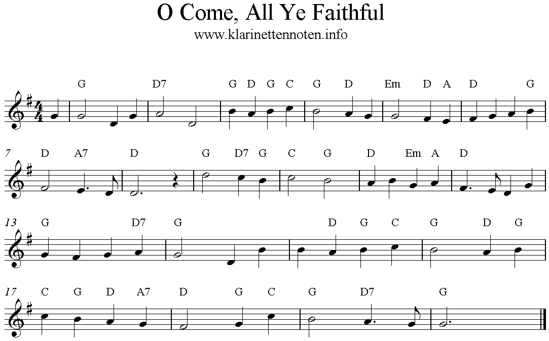 Freesheetmusic, Trumpet, Clarinet, O Come, All Ye Faithful, Adeste Fideles