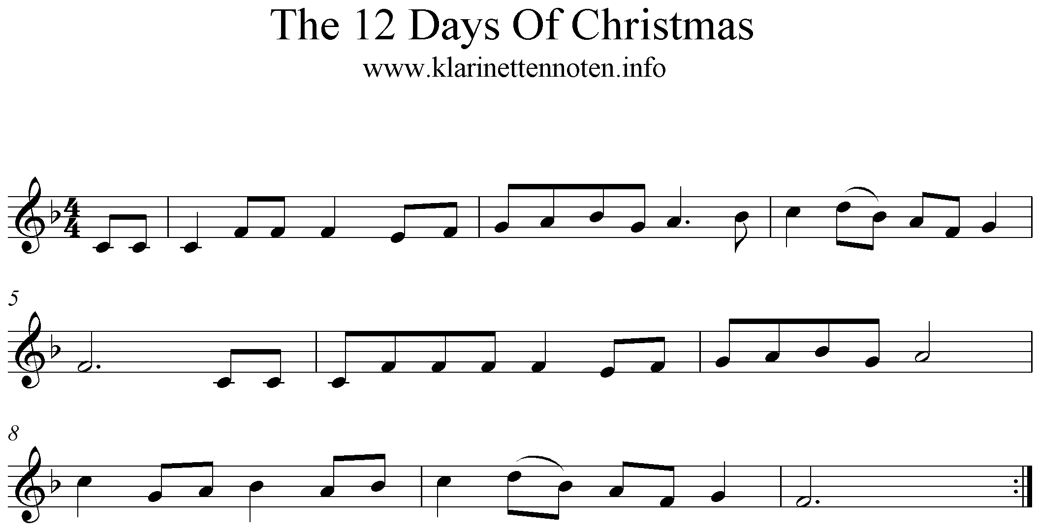 Noten für Trompete The 12 Days of Christmas